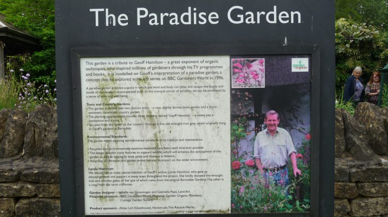 Geoff Hamilton's picture on the sign at the replica of his Paradise Garden