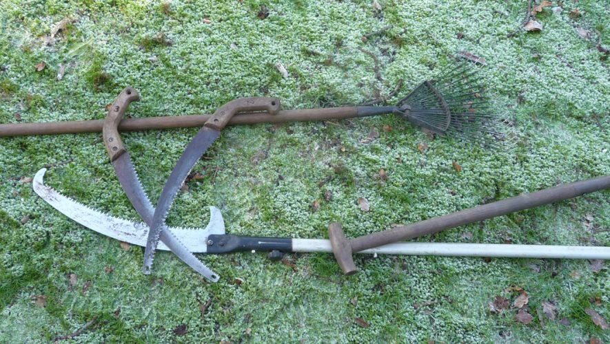 Tuingereedschap op bevroren gras