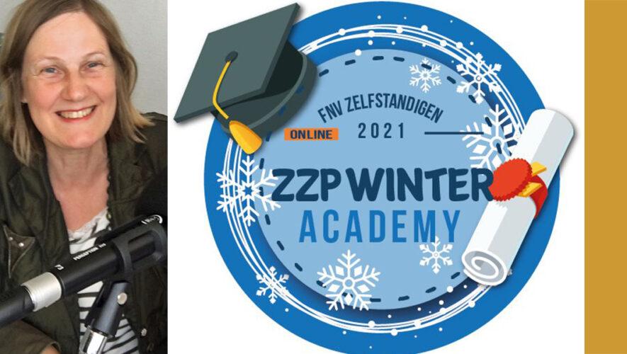 Podcaster Ivonne en logog FNV ZZP Winter Academy 2021