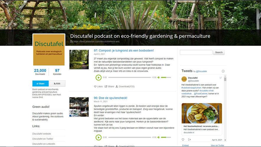 Discutafel podcast website op Podbean